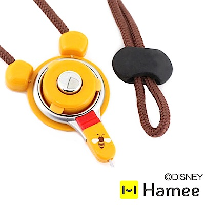 Hamee 迪士尼角色2Way快拆防掉扣環指環頸掛繩-維尼