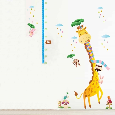 E-008童趣生活系列- 圍巾長頸鹿身高貼 大尺寸高級創意壁貼 / 牆貼