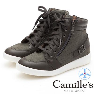 Camille's 韓國空運-正韓製-洞洞綁帶拉鍊高筒休閒鞋-墨綠
