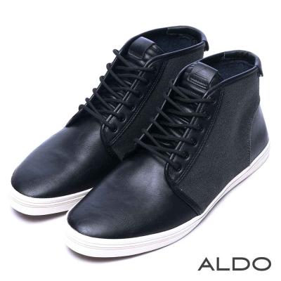 ALDO-跑酷素面飛織綁帶高筒休閒男鞋-帥勁黑色