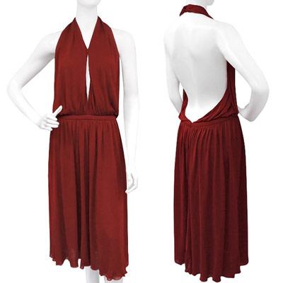 GUCCI 酒紅色抓皺露背洋裝
