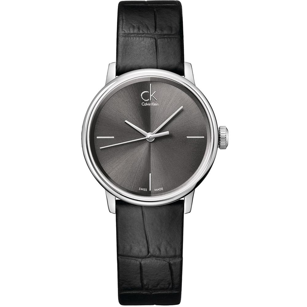 cK Accent 時尚經典皮帶腕錶-黑/32mm