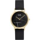 CLUSE大理石系列 黑錶盤金框黑色皮革錶帶手錶33mm