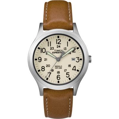 TIMEX 天美時 Expedition系列探險手錶-白x咖啡/36mm