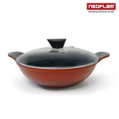 韓國NEOFLAM Amie系列 28cm陶瓷不沾雙耳炒鍋+玻璃鍋蓋(電磁)