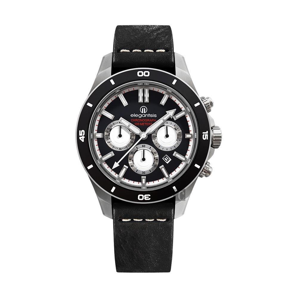 elegantsis JT65R 騎士系列三眼計時腕錶-黑/48mm