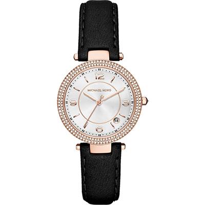 Michael Kors Parker 紐約時尚晶鑽腕錶-玫瑰金框x黑/33mm