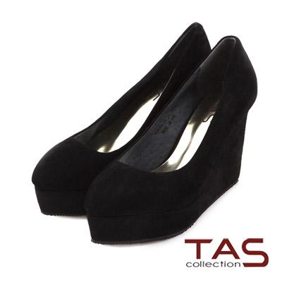 TAS-素面麂皮幾何金屬後跟楔型鞋-時尚黑