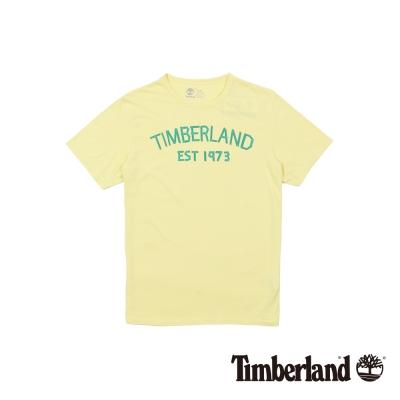 Timberland 男款鵝黃色品牌印花短袖T恤
