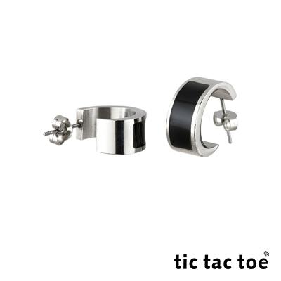 tic tac toe 半圓穿式白鋼耳環系列-滴黑