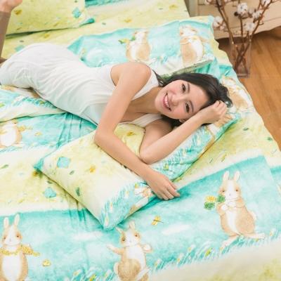 eyah宜雅 台灣製100%頂級精梳棉新式兩用被單人床包被套四件組 綠色原野上的小兔旅人