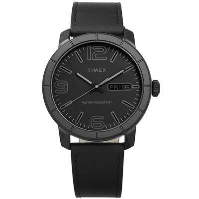 TIMEX 天美時 阿拉伯數字日期星期視窗真皮手錶-黑色/44mm