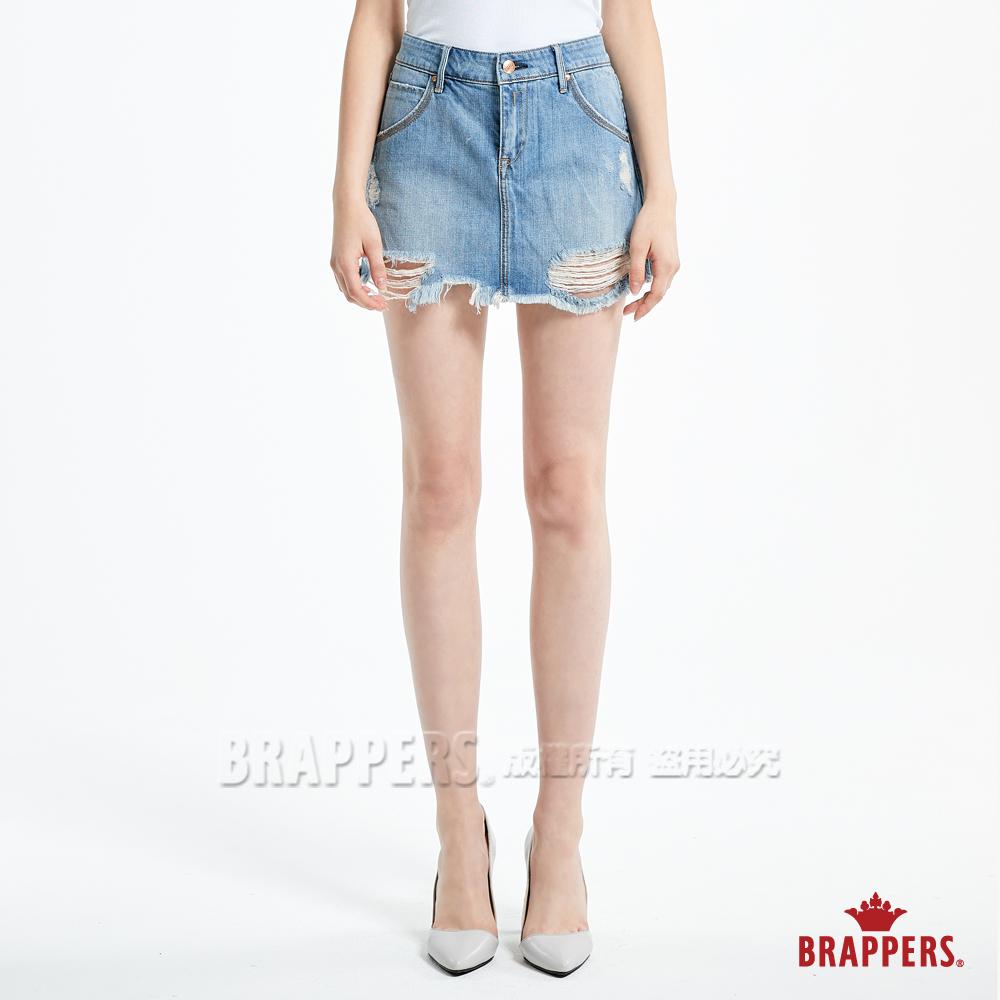 BRAPPERS 女款 Boy friend 系列-女用不收邊迷你褲裙-淺藍
