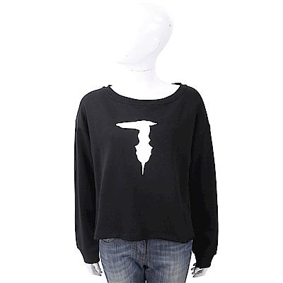 TRUSSARDI 不修邊細節黑色棉質運動衫