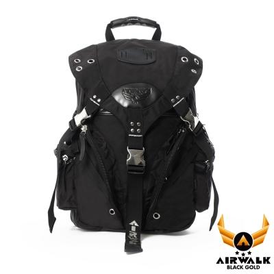 AIRWALK-黑金系列-高強度布料經典三叉扣大後背包-黑