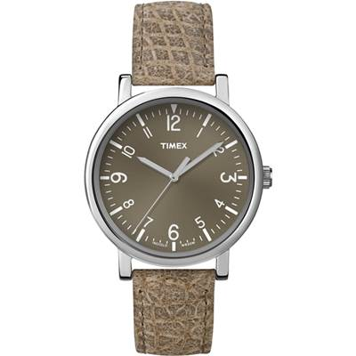 TIMEX-經典復刻冷光系列三針腕錶-咖啡-38m