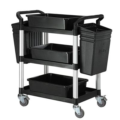 100%台灣製 標準型多功能三層工具餐車/置物架/手推車-全配經典黑