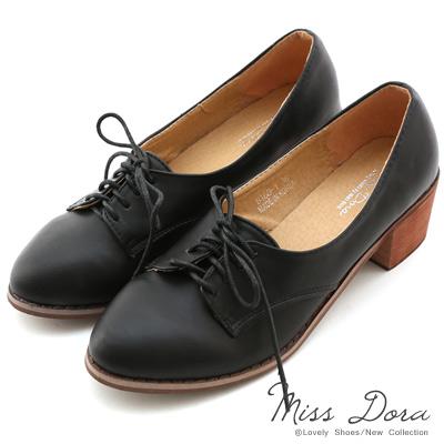 Miss-Dora-小資女孩-綁帶粗跟牛津鞋-黑