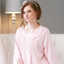 羅絲美睡衣 - 優雅時刻長袖洋裝睡衣 (浪漫粉)