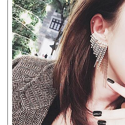 梨花HaNA 韓國性感系列全水鑽瀑布流蘇排飾耳環單只