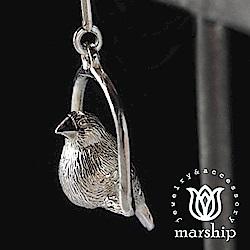 Marship 日本銀飾品牌 鞦韆上的文鳥耳環 925純銀 亮銀款 針式耳環