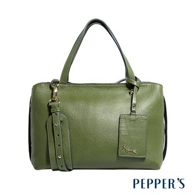 PEPPER`S  Marley 牛皮拉鍊方塊包 (L) - 橄欖綠