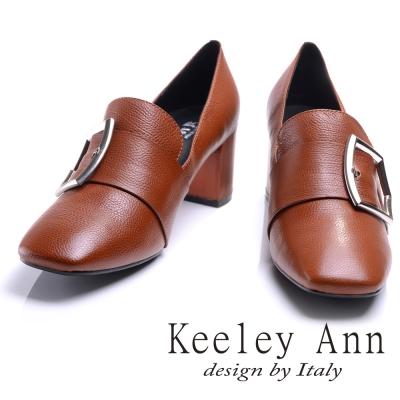Keeley Ann 低調高雅~個性金屬飾釦全真皮中跟鞋(棕色-Ann)
