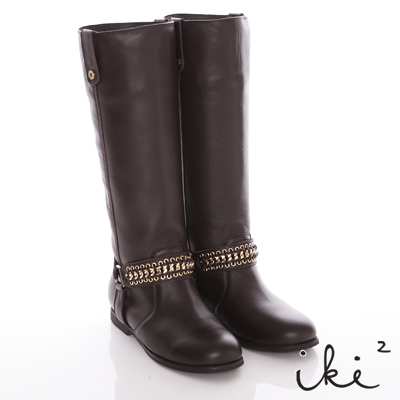 iki2-摩登焦點-修飾感金色織帶真皮騎士長靴-咖