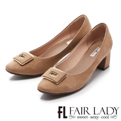 Fair Lady 優雅小姐Miss Elegant 優雅經典法式風情粗跟鞋 拿鐵