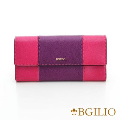 義大利BGilio-十字紋牛皮雙色扣式長夾-紫+桃紅色1951.324-10