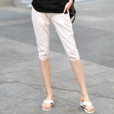 正韓 立體打摺修飾七分休閒褲 (共二色)-N.C21
