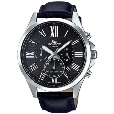 EDIFICE 經典羅馬時刻大錶面時尚皮帶腕錶(EFV-500L-1A)黑面/48mm
