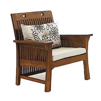 品家居 爾莎亞麻布柚木實木單人椅-78x70x90cm-免組