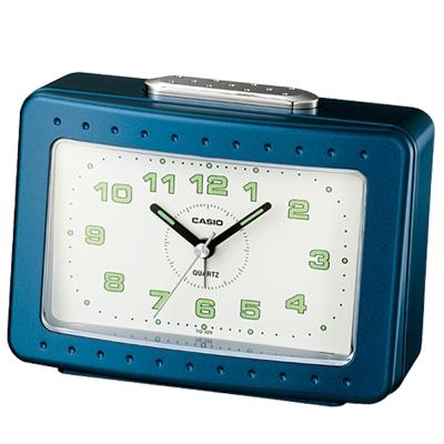 CASIO 桌上型指針長方形鬧鐘TQ-329-2(藍)