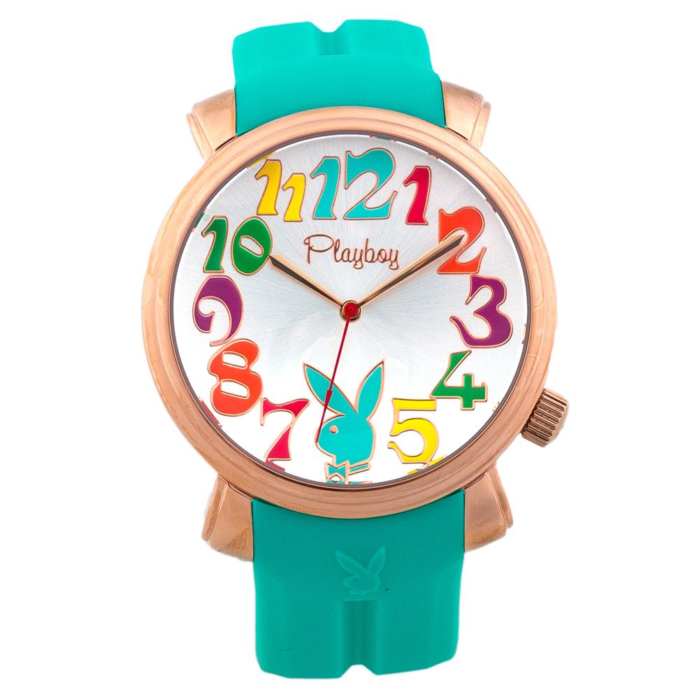 PLAYBOY 60週年紀念錶款 玫瑰金框+綠色帶/44mm