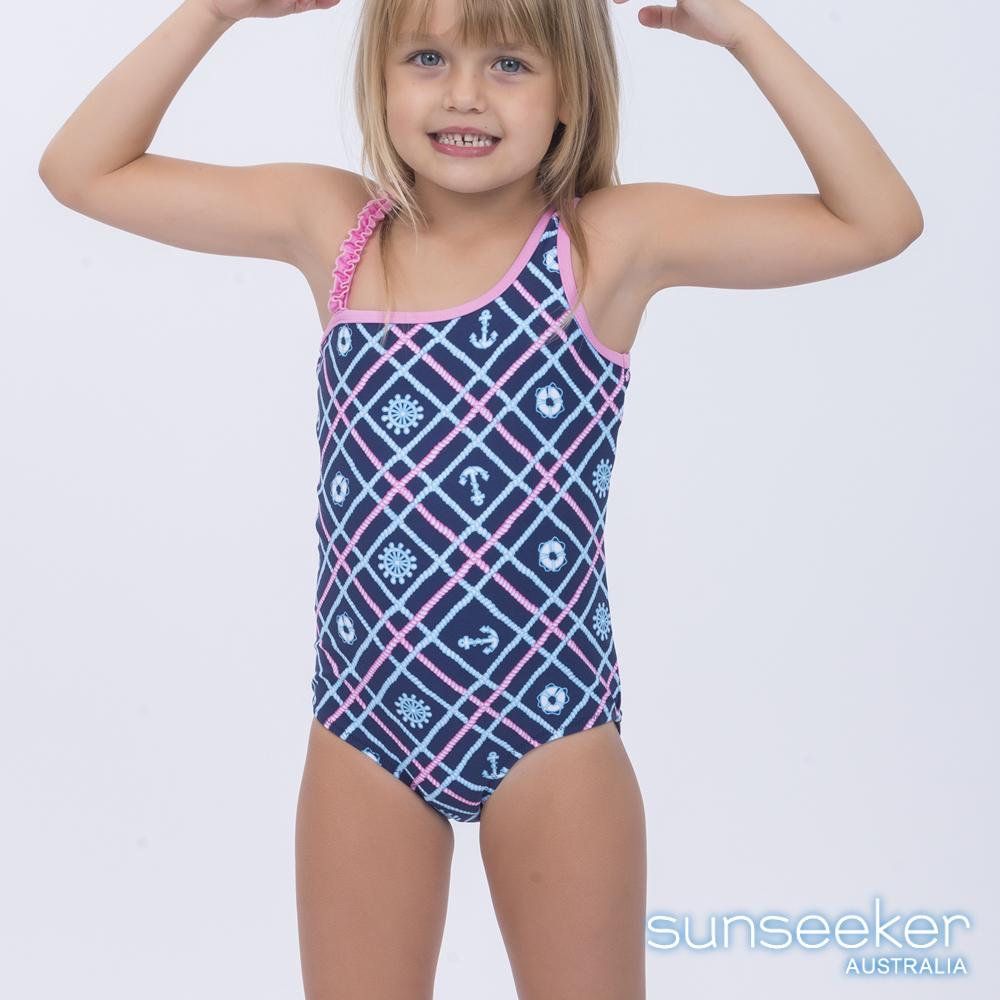 澳洲Sunseeker泳裝抗UV防曬連身泳衣-小女童海軍藍