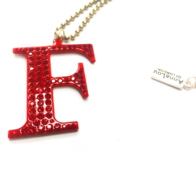 Anna Lou Of London 倫敦品牌 水晶字母項鍊 F 紅色X銀鍊