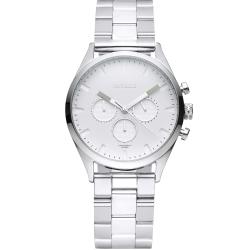 TAYROC 英式風尚三眼計時手錶-白X銀/42mm