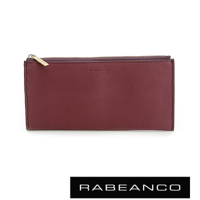RABEANCO 迷時尚牛皮系列雙面卡層拉鍊長夾 紫紅