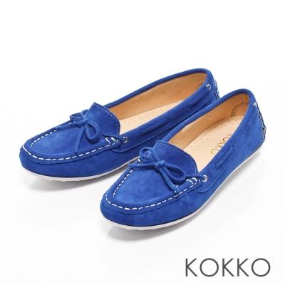 KOKKO - 極致手感蝴蝶結羊麂皮莫卡辛便鞋-海寶藍