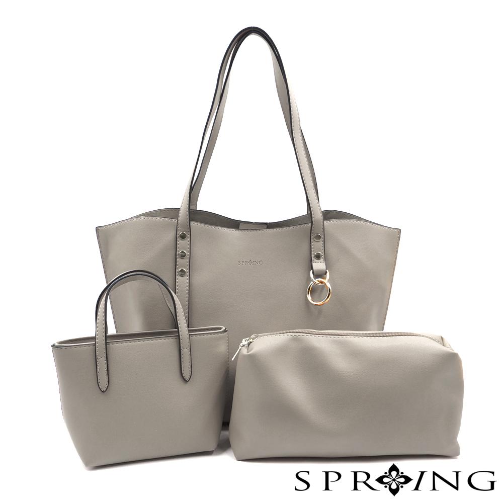 SPRING-elegance優雅女伶托特包三件組-灰