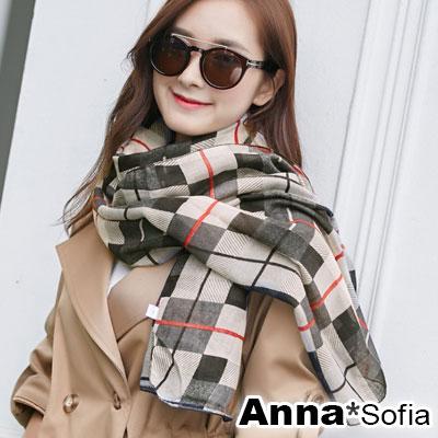 AnnaSofia 細斜線格紋款 拷克邊韓國棉圍巾披肩(米黑系)