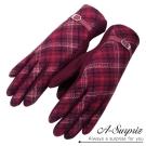 A-Surpriz 典雅格紋皮革扣環羊毛手套(暗紅)