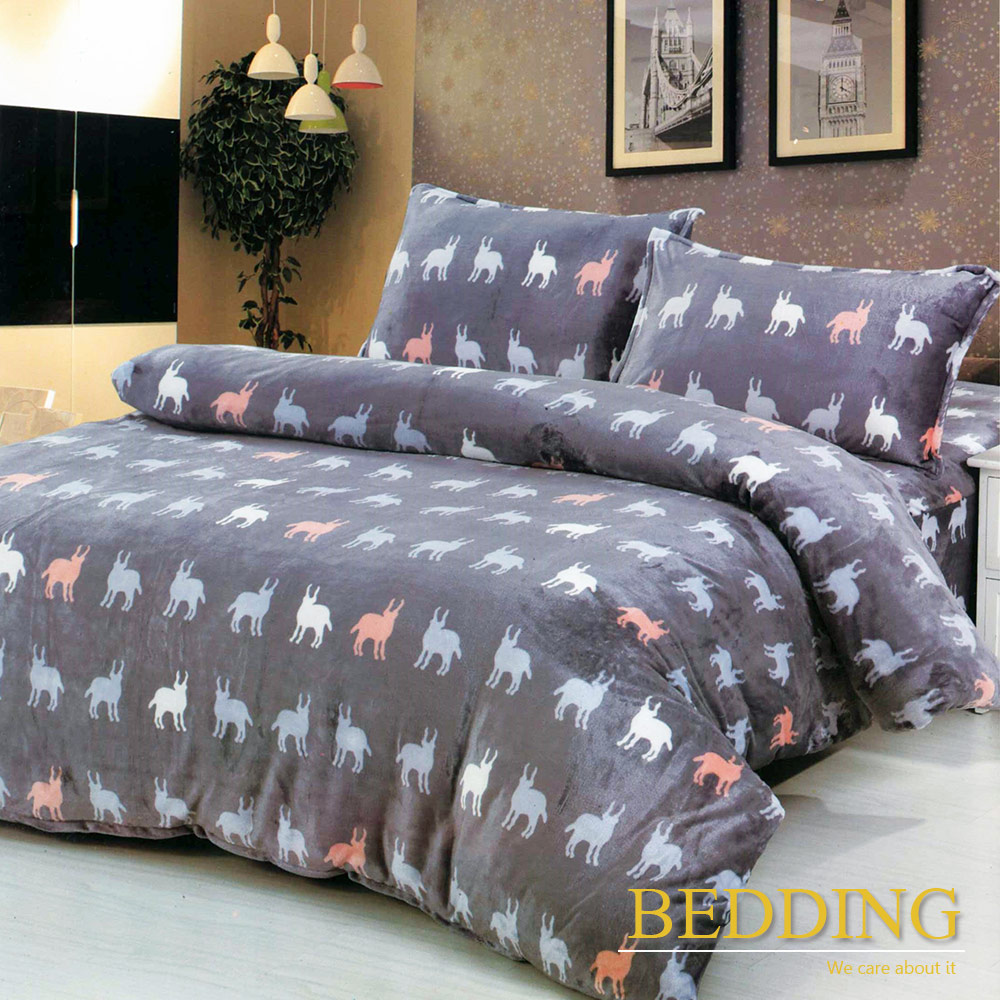 BEDDING 羊羔絨x法蘭絨 二合一多功能毯被 雙人6x7尺 -梅朗