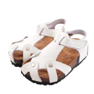 真皮休閒涼鞋 白 sk0040 魔法Baby