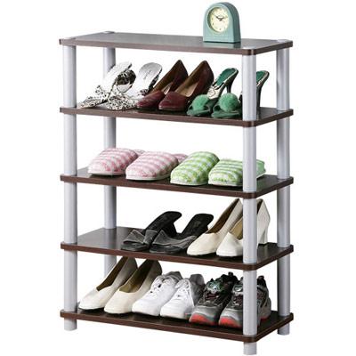 《Homelike》簡約五層開放式鞋架-胡桃