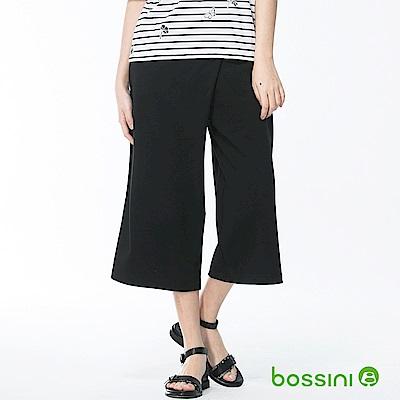 bossini女裝-素色七分寬褲05黑