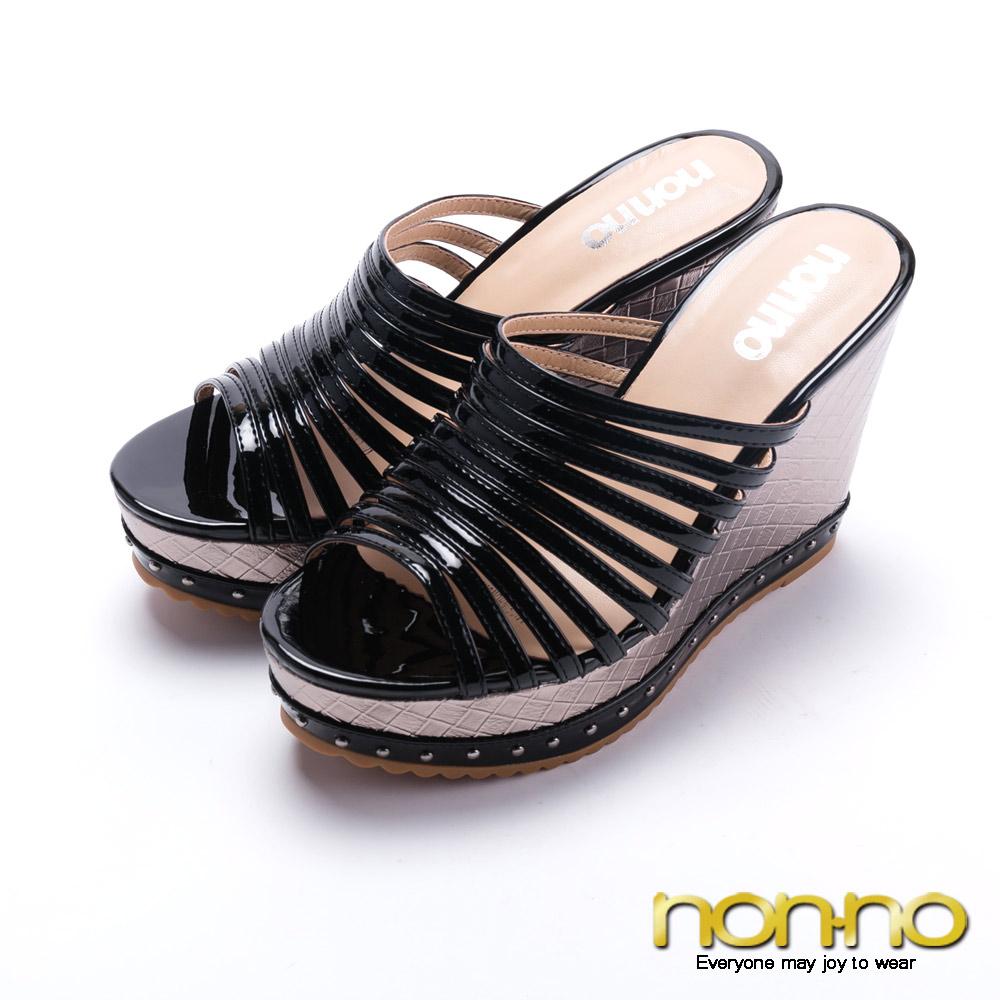 nonno羅馬經典曲線楔型高跟涼拖鞋-黑