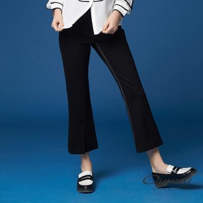 OUWEY歐薇 時尚率性壓線直筒褲(黑)-動態show