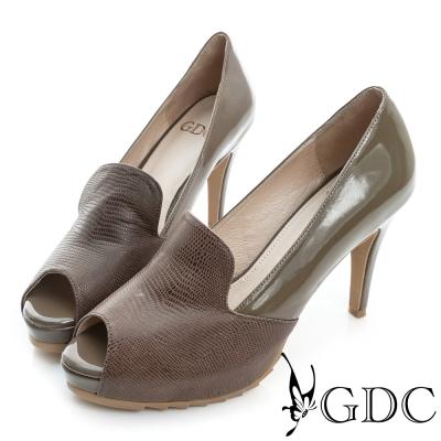 GDC-牛皮拼接真皮魚口高跟鞋-可可色